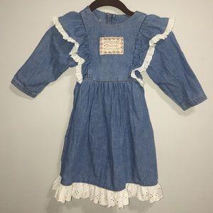Vinatge Guess Denim & Lace 3T Tie Button Dress